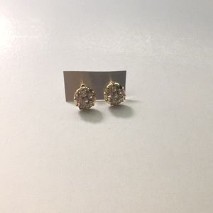 Clear Crystals Gold Plated Round Stud Earrings